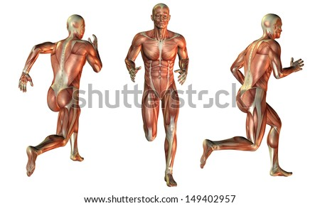 Illustration of muscle man while running - stock photo