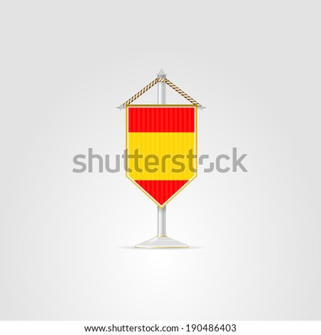 Illustration of national symbols of European countries. Spain. Pennon with the flag of Spain. Isolated illustration on white. - stock photo