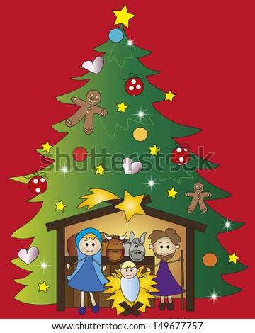 illustration of nativity with tree christmas - stock photo