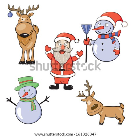 Illustration of New Year doodle icon set. Raster version. - stock photo