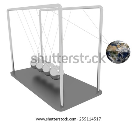 Illustration of Newtons Cradle with one of the spheres replaced with planet Earth Elements of this image furnished by NASA - stock photo