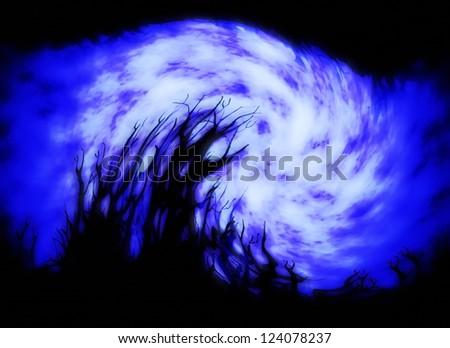 Illustration of night forest - stock photo