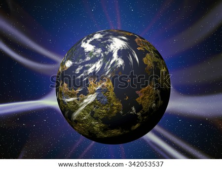 Illustration of night sky with simulated planet with plasma rays - stock photo