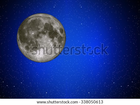 Illustration of night sky with simulated simulated full moon - stock photo
