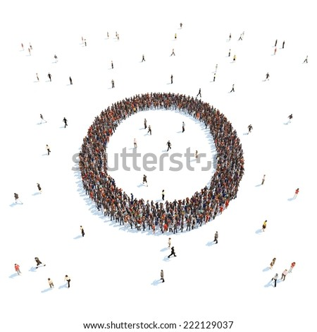 illustration of O letter with people - stock photo
