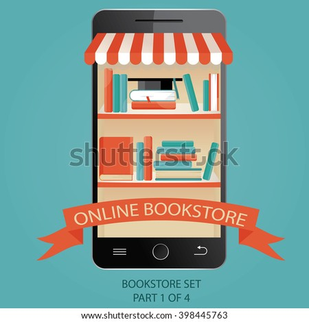 illustration of online bookstore. E-books. Picture 1 of 4. - stock photo