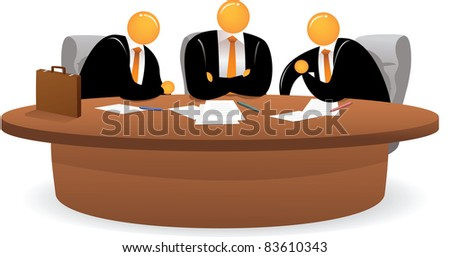 Illustration of Orange Head Man on meeting - stock photo