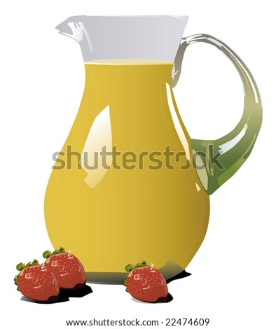 Illustration of orange juice pitcher with strawberries - stock photo