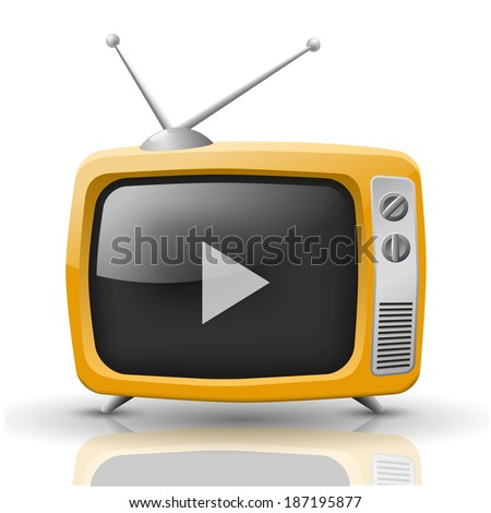 illustration of orange TV isolated on white background.  Rasterized version of vector - stock photo