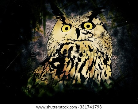 Illustration of Owl in Night Over Plants - stock photo