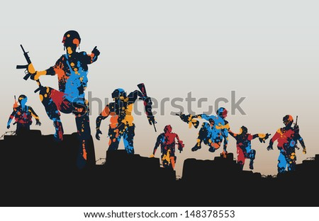 Illustration of paint splattered armed soldiers charging forward  - stock photo