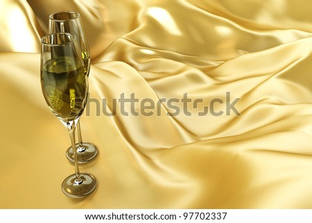 illustration of pair of champagne glass on golden satin cloth background - stock photo