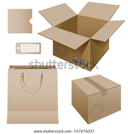 Illustration of paper packaging, set. - stock photo
