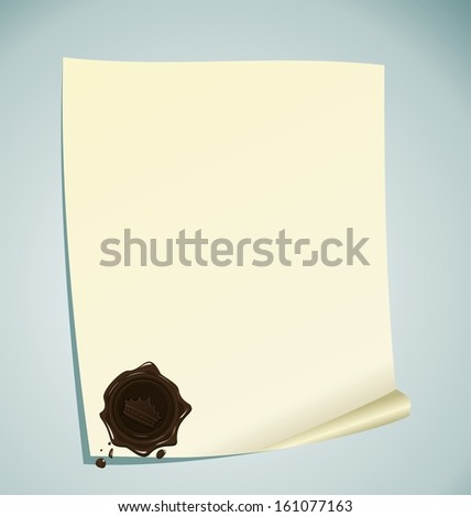 Illustration of paper with brown wax sealing - raster - stock photo