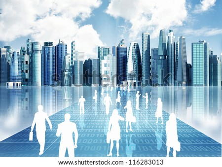 Illustration of people doing business inside the virtual world of internet - stock photo