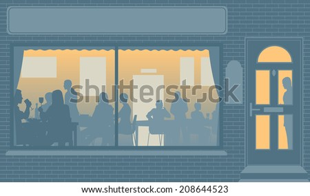 Illustration of people eating through a restaurant window - stock photo
