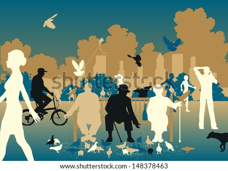 Illustration of people feeding pigeons in a busy urban park - stock photo