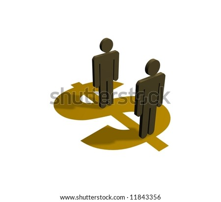 Illustration of people standing on a dollar symbol - stock photo