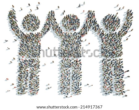 illustration of people with their hands raised - stock photo