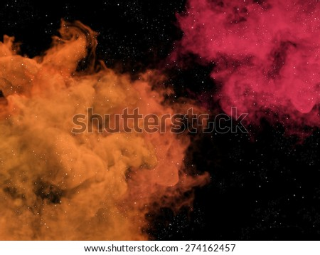 Illustration of pink and orange nebulas and stars in space - stock photo