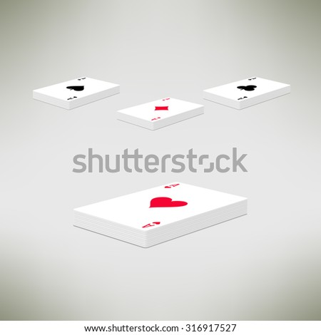 Illustration of playing cards deck with ace on top in realistic and clean design. Card perspective composition - stock photo