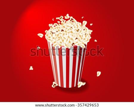 illustration of Popcorn Bucket on red background - stock photo