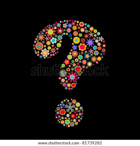 illustration of question-mark shape made up a lot of  multicolored small flowers on the black background - stock photo