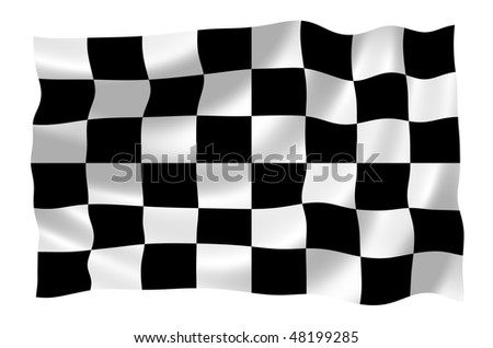 Illustration of racing flag waving in the wind - stock photo