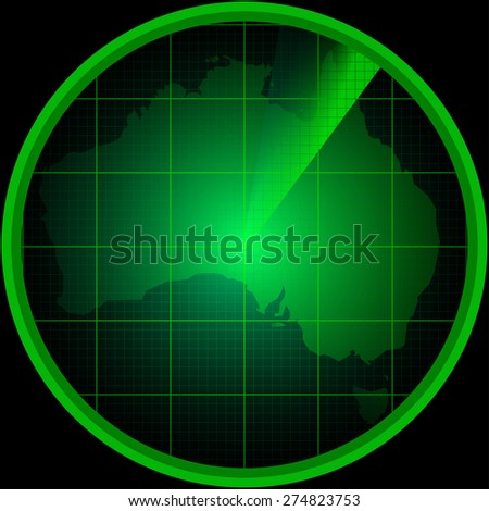 Illustration of radar screen with a silhouette of Australia - stock photo