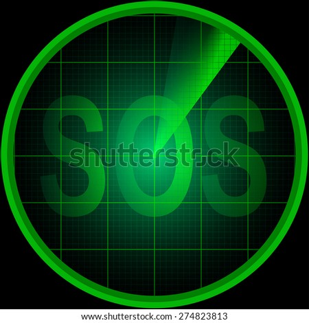Illustration of radar screen with the word SOS - stock photo