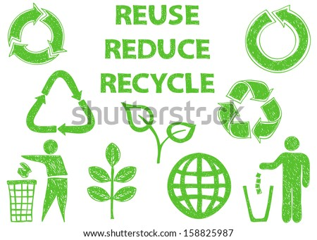 Illustration of recycle doodle icons - doodle drawings on white background - stock photo