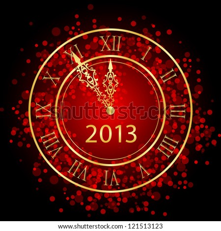Illustration of red and gold New Year clock - stock photo