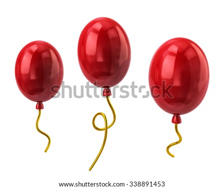 Illustration of red balloons isolated on white - stock photo