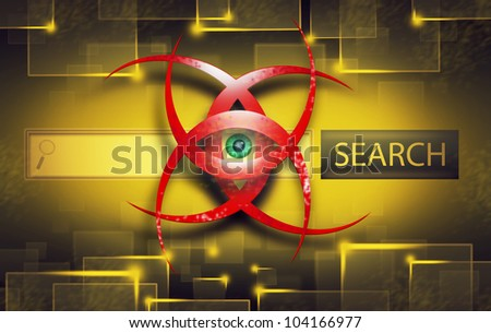 Illustration of Red Computer Virus on Search Engine Bar. Yellow and Dark Color Background. - stock photo