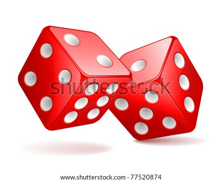 Illustration of red dices - stock photo
