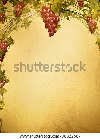 Illustration of red grape vine frame at grunge background with copyspace for your text - stock photo