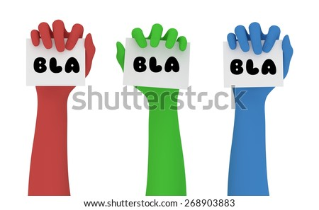 """Illustration of red green and blue hands, each holding a note marked with the word """"Bla"""" - stock photo"""