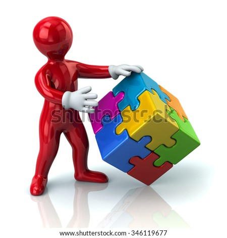 Illustration of red man and colorful 3d puzzle cube - stock photo