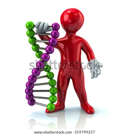 Illustration of red man and DNA - stock photo