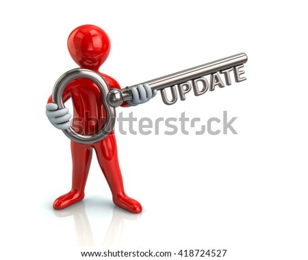 Illustration of red man and silver key with word update - stock photo