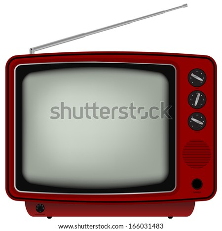 Illustration of Red Retro Television Isolated on White Background - stock photo