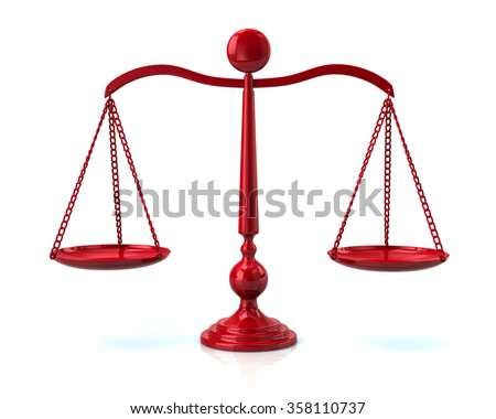 Illustration of red scales on white - stock photo