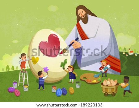 Illustration of religion and painting hearts and eggs - stock photo