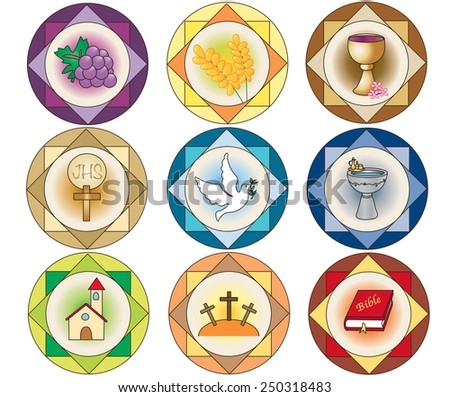Illustration of religion icons isolated.  - stock photo