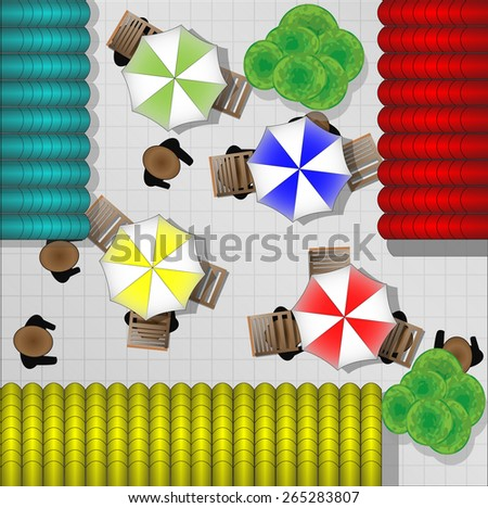 Illustration of restaurants with chairs and parasols from above - stock photo