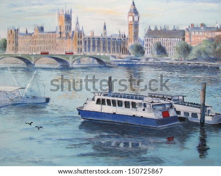 Illustration of River Thames with boats, Westminster Bridge and Parliament, London England.  - stock photo