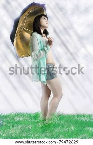Illustration of romantic woman with umbrella - stock photo