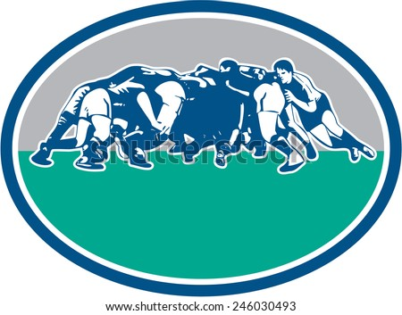 Illustration of rugby union players in a scrum set inside oval with done in retro style. - stock photo