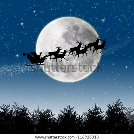 Illustration of Santa Claus and his reindeer sleigh in silhouette against a blue winter landscape - stock photo