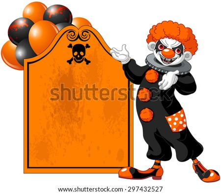 Illustration of scary Halloween clown (showing) - stock photo
